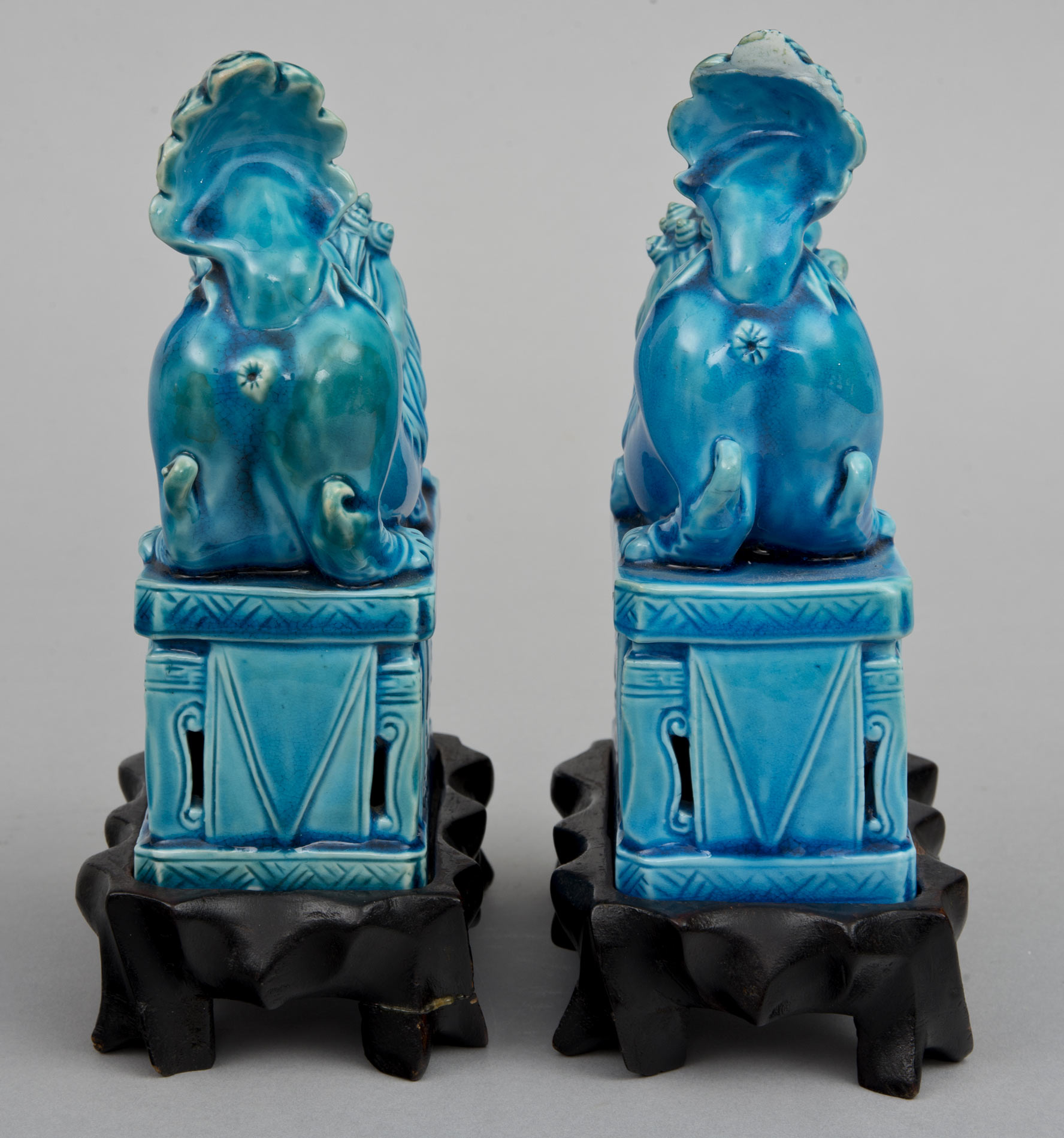 Product Chinese Turquoise Foo Dogs On Stands Circa 1900