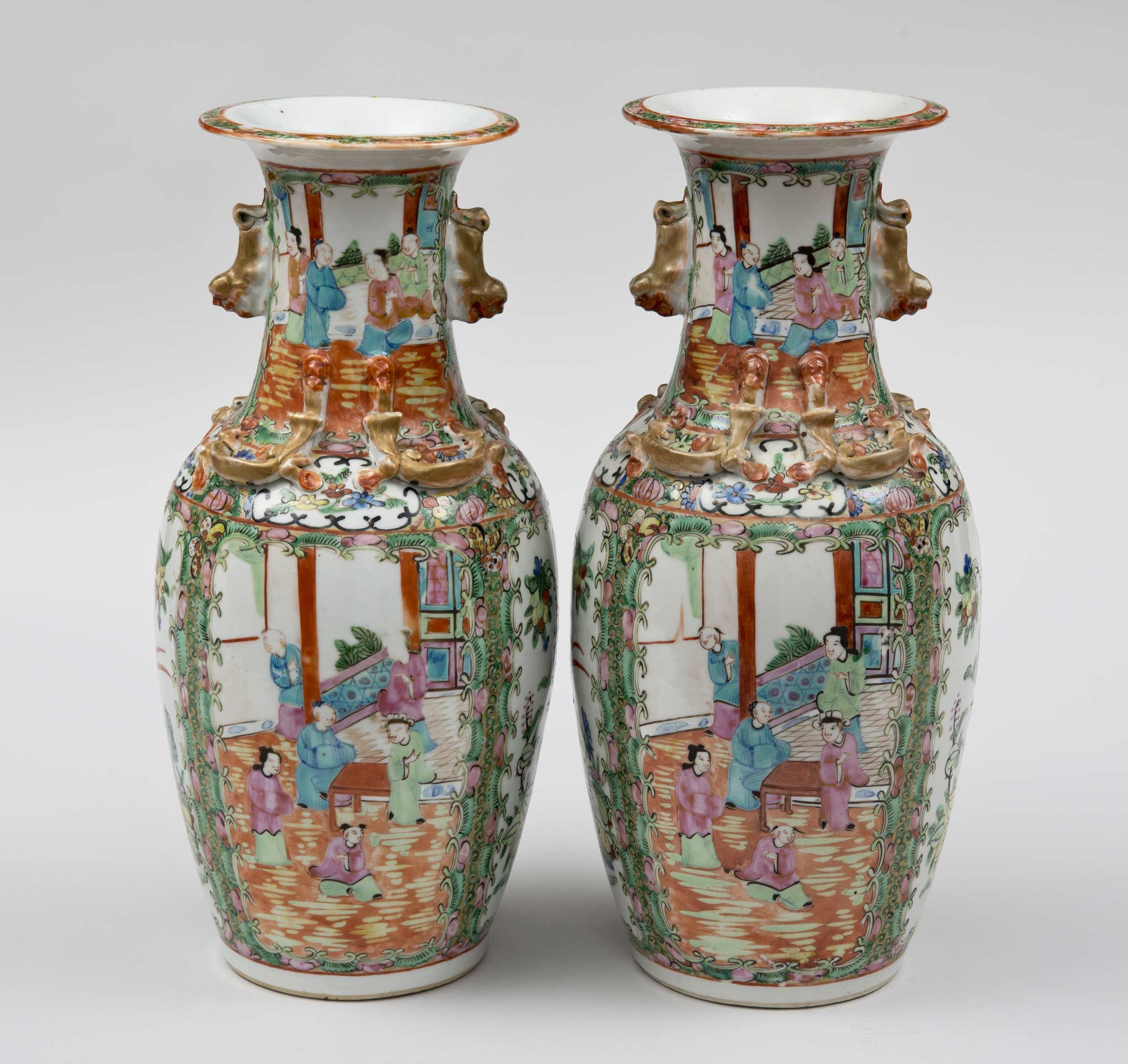 Product  Pair Chinese Rose Medallion Vases