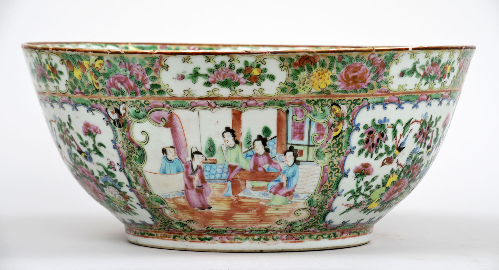 Antique Chinese Canton Rose Medallion Punch Bowl Circa 1850