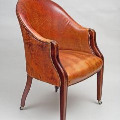 Leather Bucket Chair Rocking With Cradle Antique Edwardian Tub Mahogany