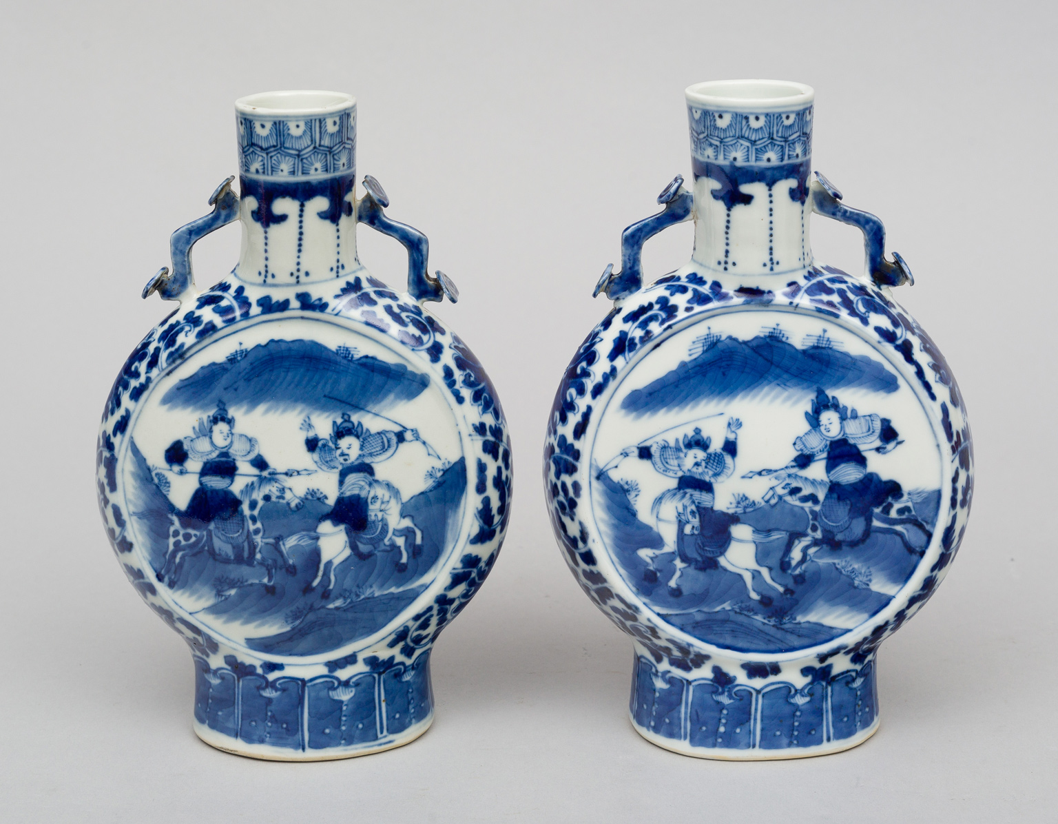 Product  Pair Of Chinese Blue And White Moon Flasks
