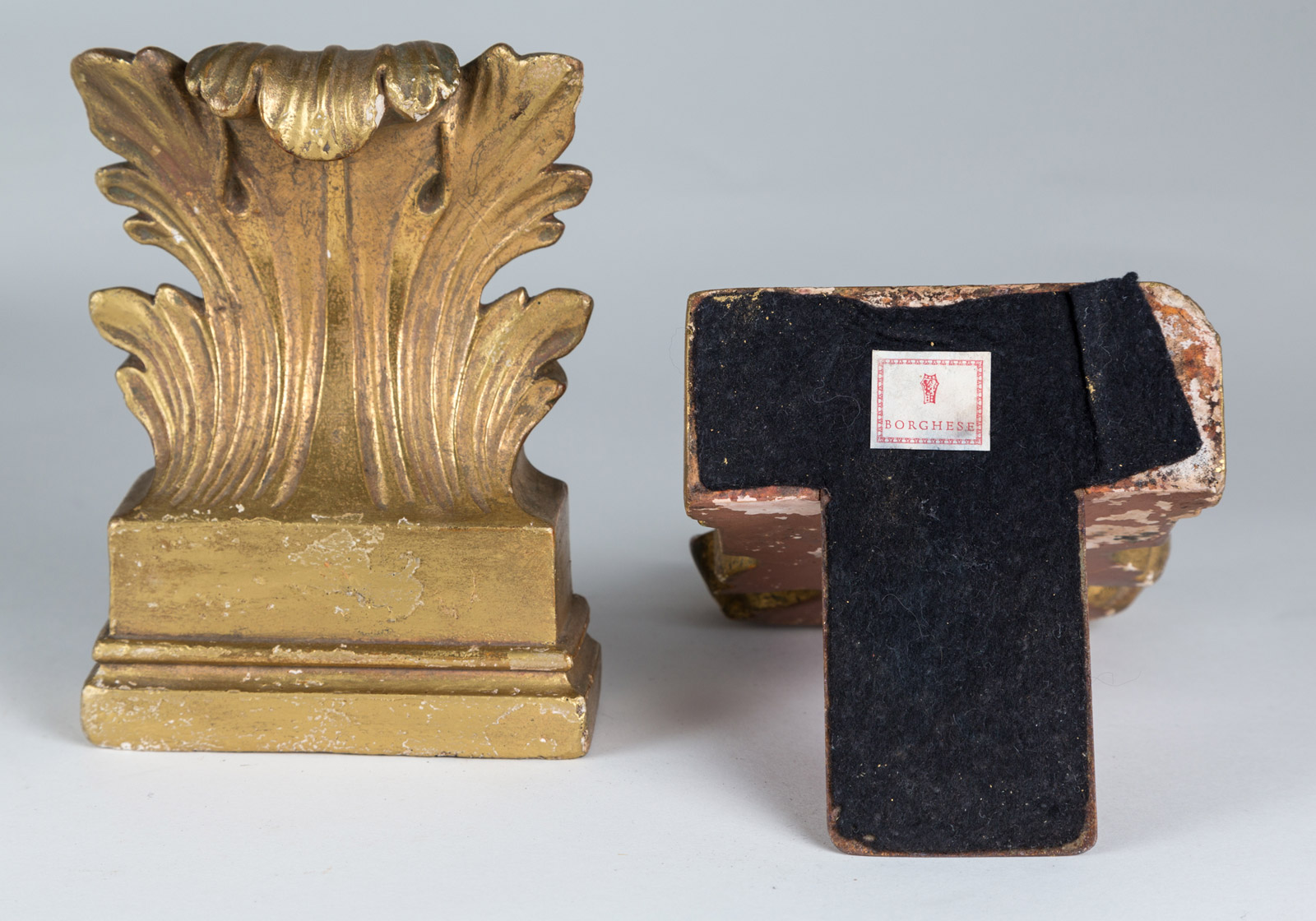 Pair Of Gilded Acanthus Leaf Bookends