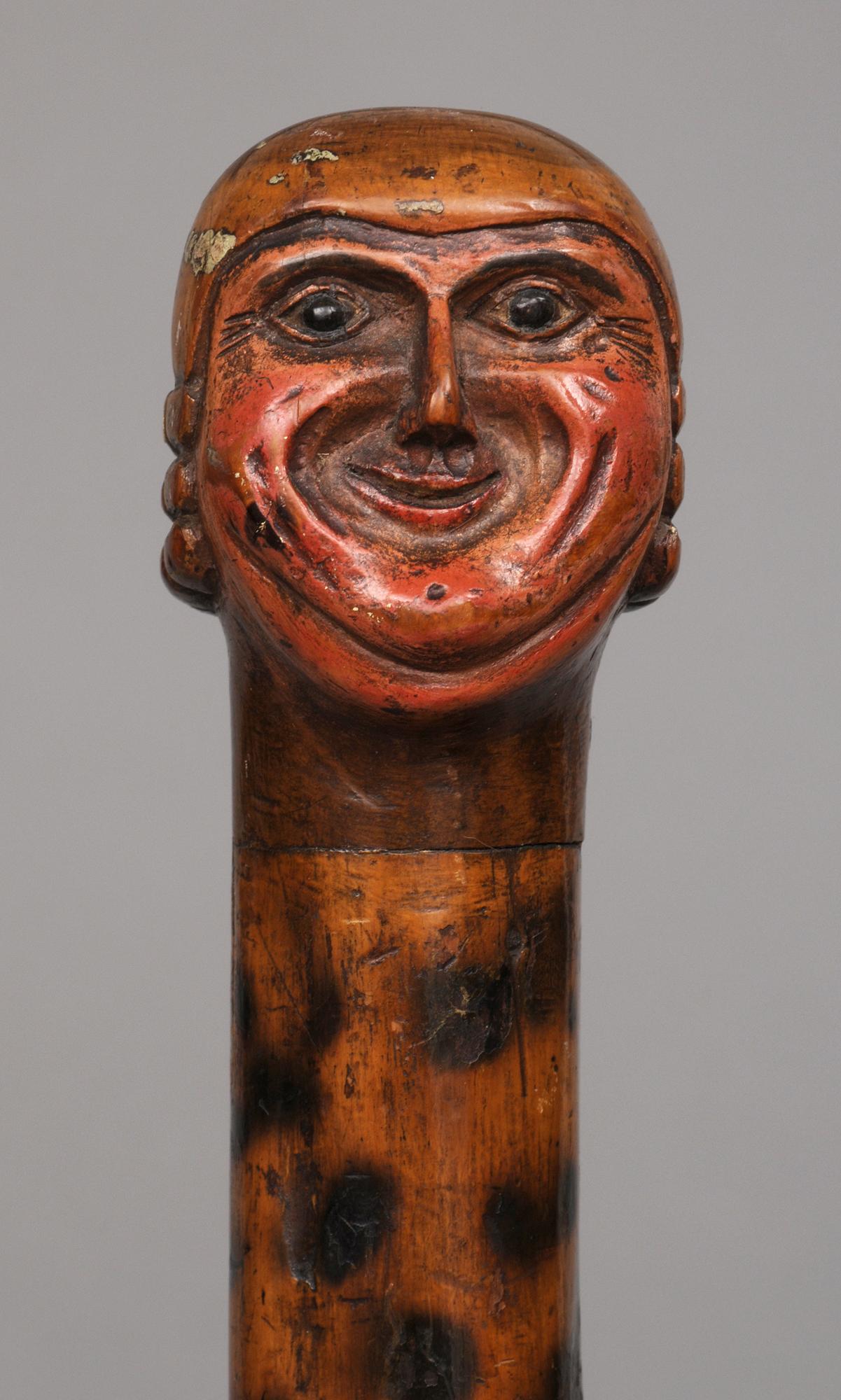 Antique English Yew Wood Folk Art Walking Stick