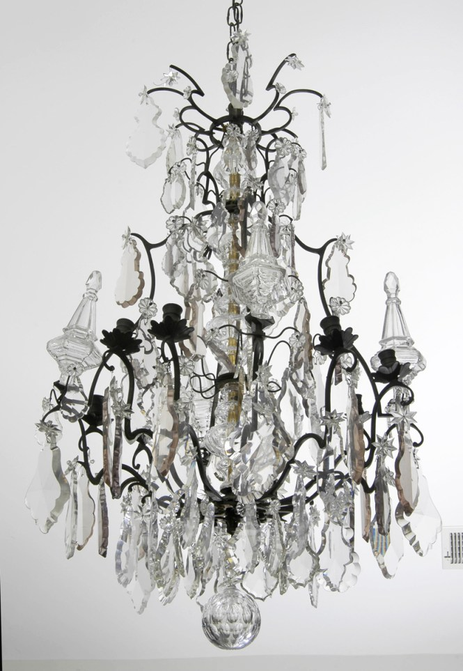 Antique French Crystal And Bronze Chandelier