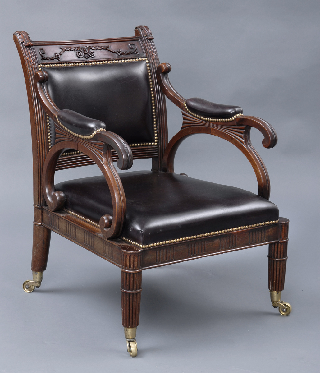 Leather Arm Chairs Antique Library Chairs English Regency Mahogany