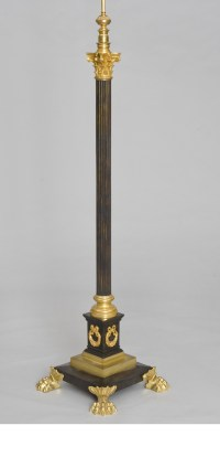 French Antique Bronze Floor Lamp