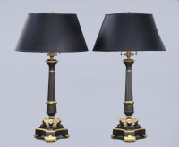 Pair Antique French Bronze & Ormolu Lamps