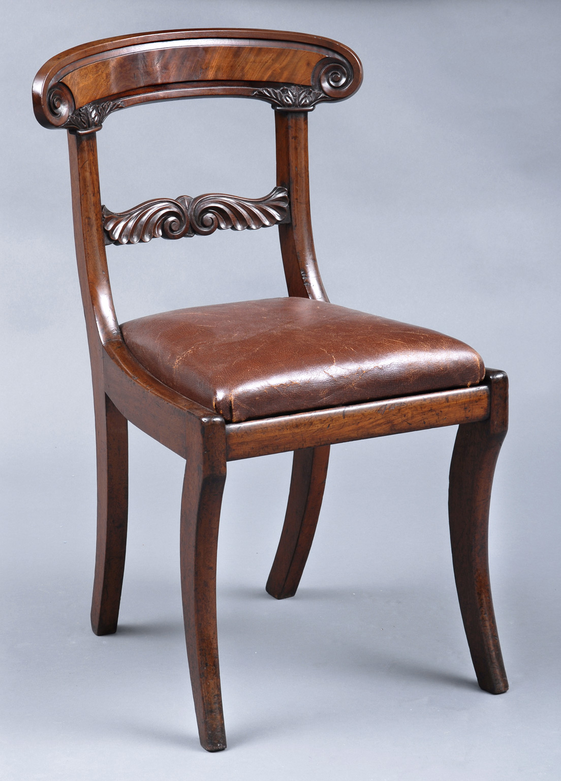 William IV English Antique Mahogany Side Chair  Antique