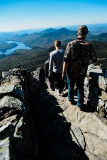 Visitors departing the peak of Whiteface Mountain