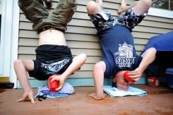 Rednecks drinking beer upside down