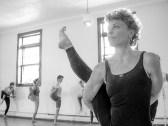 Yoga class, black and white, one leg