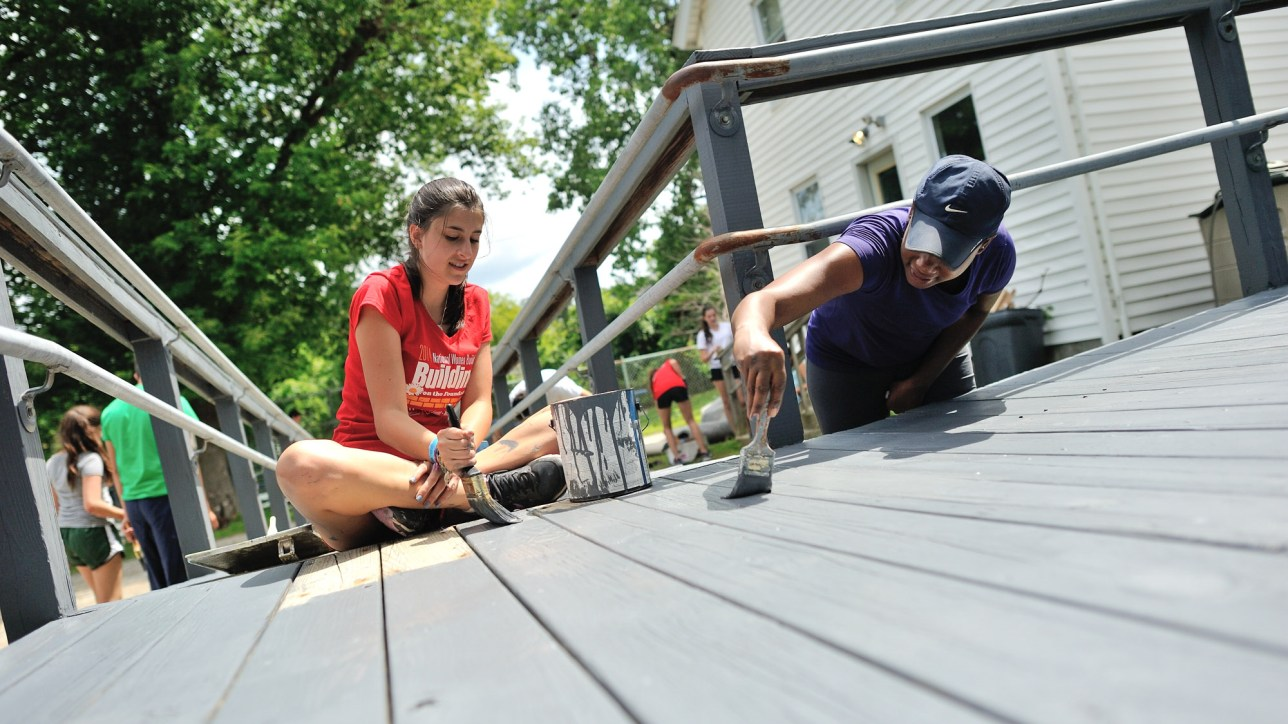 One group from Camp Taconic spent an afternoon repainting the ramp behind the Habitat office on Columbus Avenue in Pittsfield.