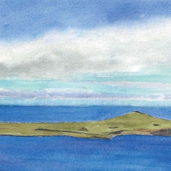 Easter Island From Above by Susan Sternau from Easter Island Sketchbook