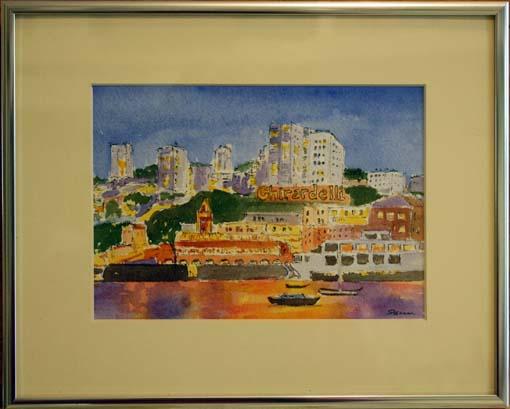 Ghirardelli Twilight, framed watercolor by Susan Sternau