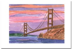 Golden Gate Sunset Card by Susan Sternau