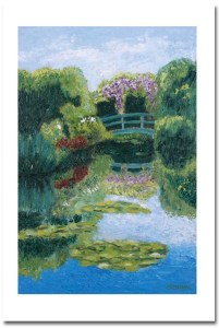 Lily Pond with Bridge Card with shadow by Susan Sternau