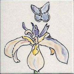 Mission Blue Butterfly with Iris, single product, by Susan Sternau