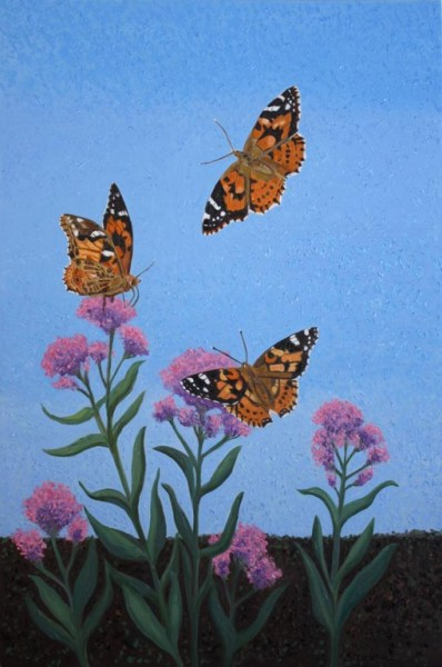 Painted Ladies butterflies, giclee print by Susan Sternau