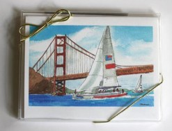 Sailboat with Golden Gate Card Box, front