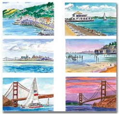 Six cards of Sausalito with shadow by Susan Sternau