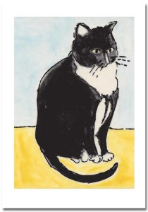 Tuxedo Cat Card  by Susan Sternau