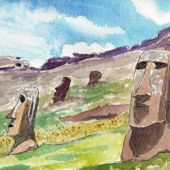 Two Heads inside Crater by Susan Sternau, from Easter Island Sketchbook