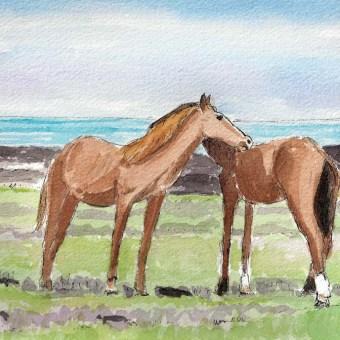 Wild Horses Grooming by Susan Sternau from Easter Island Sketchbook