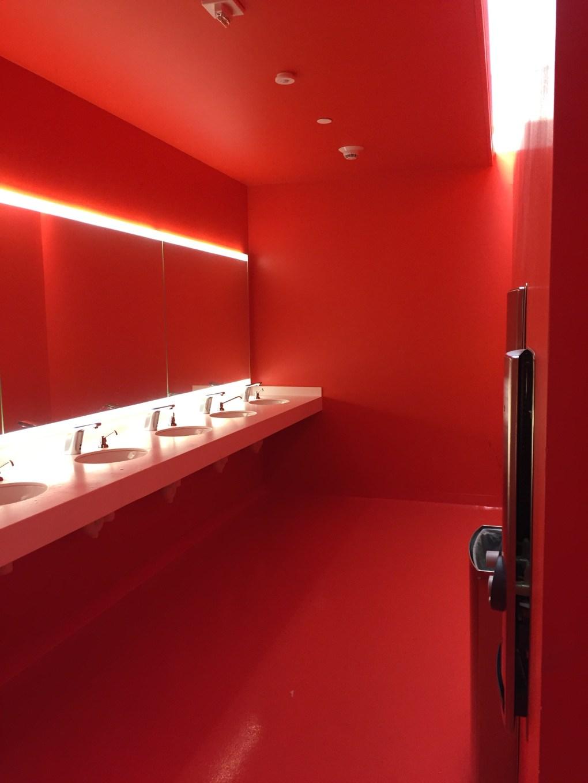 Red Bathroom Sinks, new SFMOMA