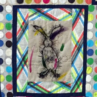 Rabbitude Quilt, detail, by Leslie Riehl
