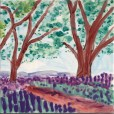 Lavender Field with Trees large tile, by Susan Sternau