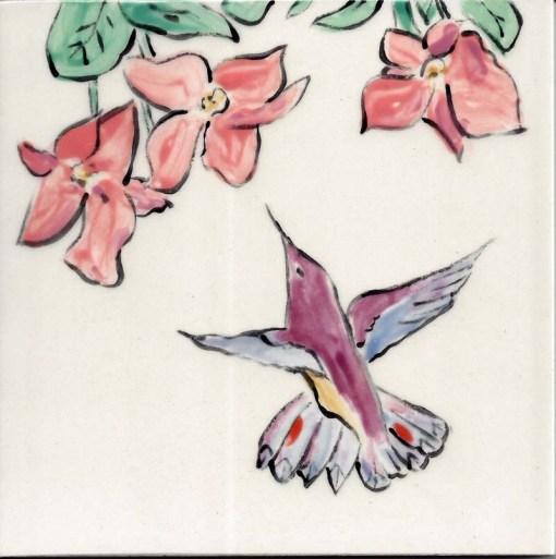 Lavender Hummingbird tile, by Susan Sternau