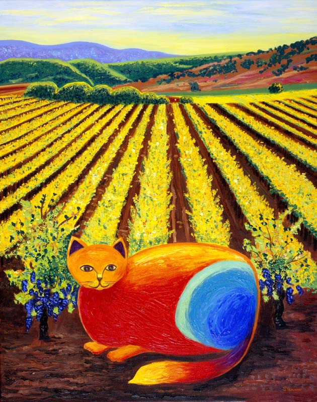 Wine Country Cat 1 oil painting by Susan Sternau