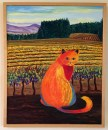 Wine Country Cat 2 Oil Painting framed by Susan Sternau