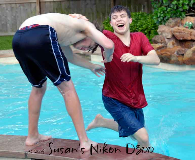 It's the #1 son's turn to take a dip.