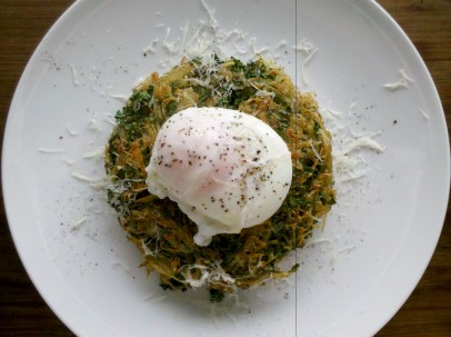 Kale and potato hash with parmesan and poached eggs