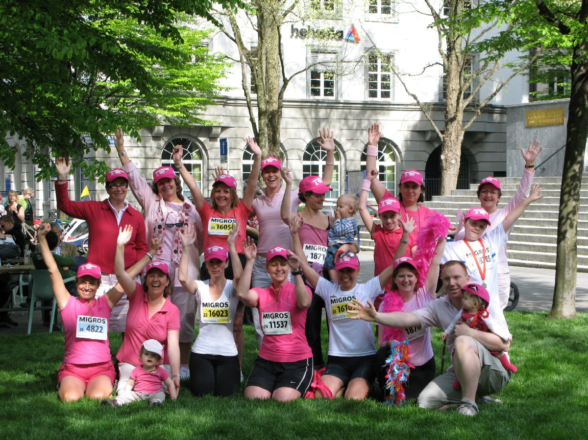 """""""Pink ladies"""" strike a pose on race day."""