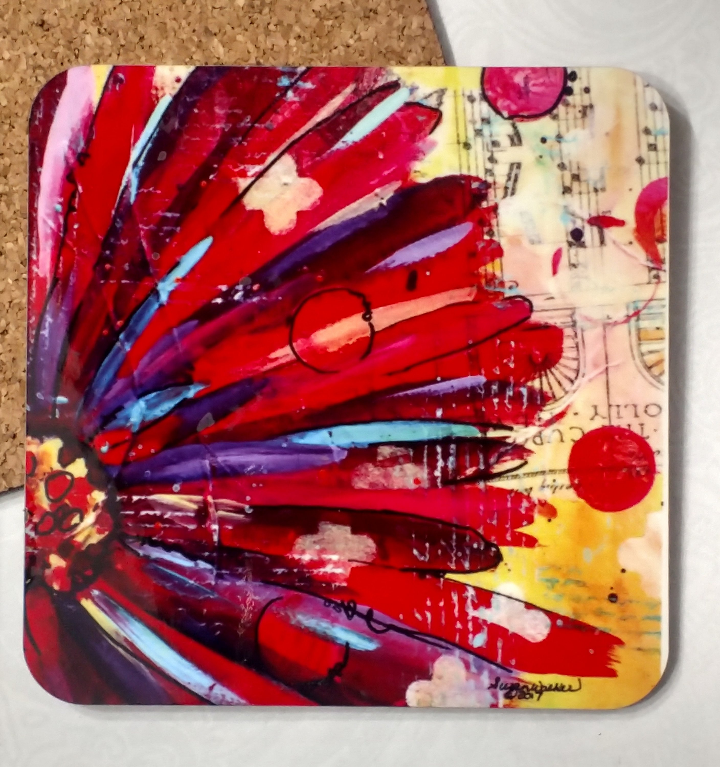 Delight Floral painting coaster by Susan Walker