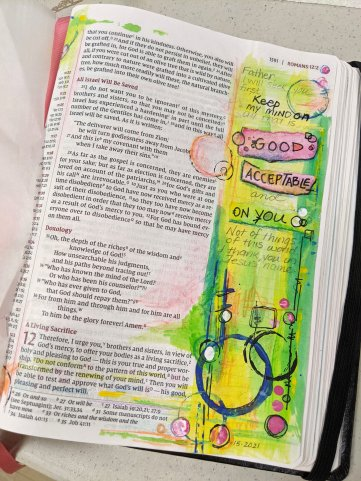 Spiritual Growth Mindet with Romans 12:2 Bible Art Journaling Page