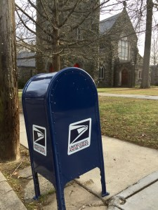 The brand new post box by Grace Epiphany, replacing the one my car smashed.