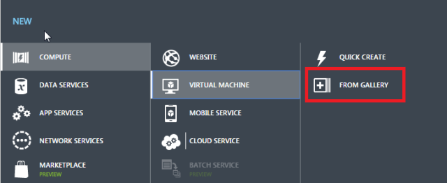 Select VM from Azure Gallery