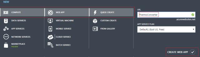 Create Azure Web App