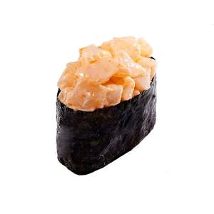 Острый гункан суши с гребешком
