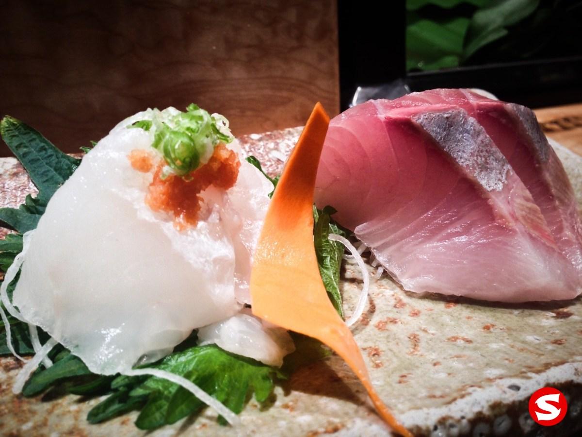 hirame (halibut), kanpachi (amber jack) sashimi