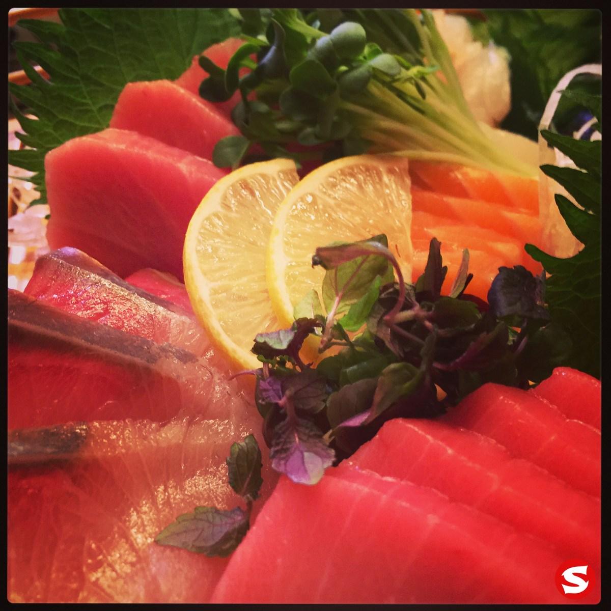 kanpachi (amber jack), maguro (bluefin tuna back), sake (salmon) sashimi
