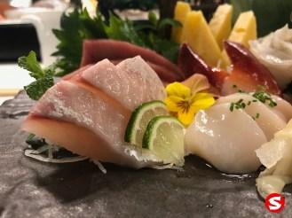 hamachi (yellowtail), hotategai (scallop), hokkigai (surf clam) sashimi