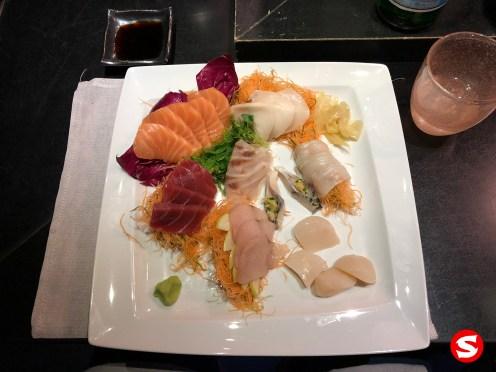 maguro (tuna back), sake (salmon), hamachi (yellowtail), ibodai (butterfish), suzuki (sea bass), engawa (flounder), aji (mackerel), hotategai (scallop) sashimi