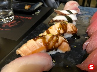 sake toro (salmon belly) nigiri
