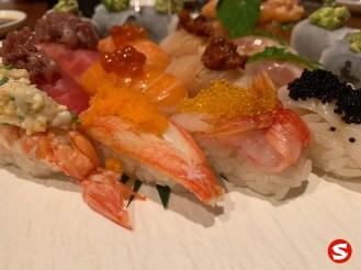 ebi (shrimp), kani (crab), kuruma ebi (tiger prawn) nigiri
