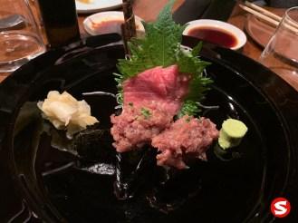 otoro (fatty tuna belly) tartare gunkan (battleship sushi), otoro (fatty tuna belly) sashimi plate