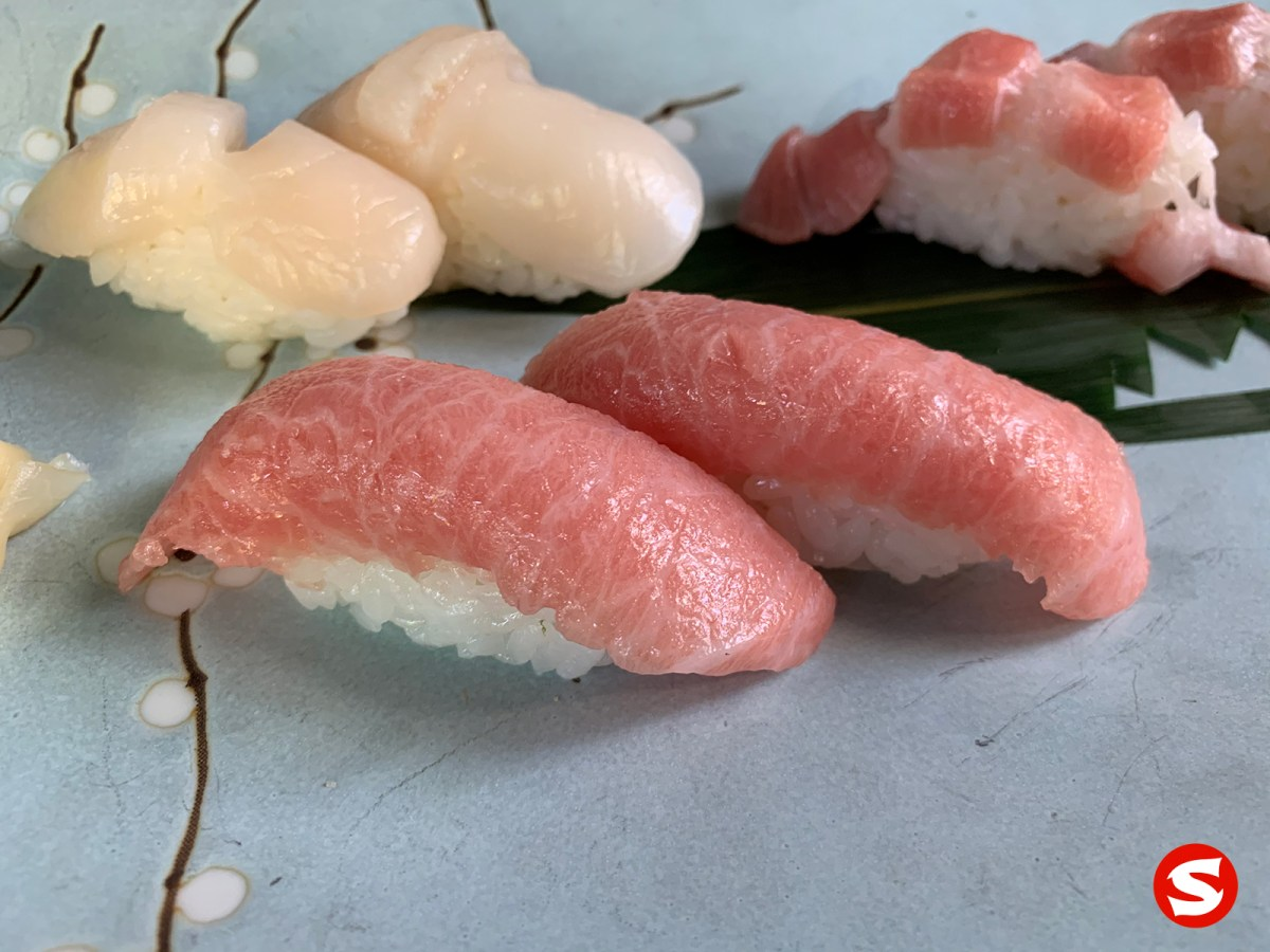 o toro (bluefin fatty tuna belly) nigiri closeup